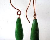 Green Teardrop- Handmade Earrings Hammered Copper Wire and Green Quartz Teardrop