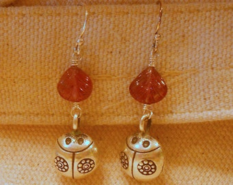 Ladybug Silver Bell Earrings with Pink Tourmaline