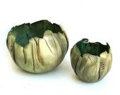 hand built porcelain balloon bowls   ....   copper duo