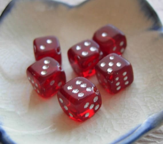 6 - 8mm Red Dice Beads - Czech Pressed Glass