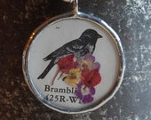 Reversible Bird Print with Real Dried Flowers and Black and White Design Pendant Necklace