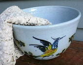 VIntage Bowl Birds Hand Painted
