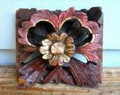 Vintage Carved Wood Flower Wall Decoration