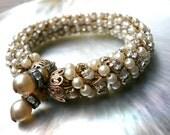RESVD for Janice Vintage Miriam Haskell Bracelet Rhinestones and Pearls