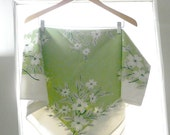 RESVD for ChristieVintage Tablecloth Spring Green with Dogwood Flowers White and Grey