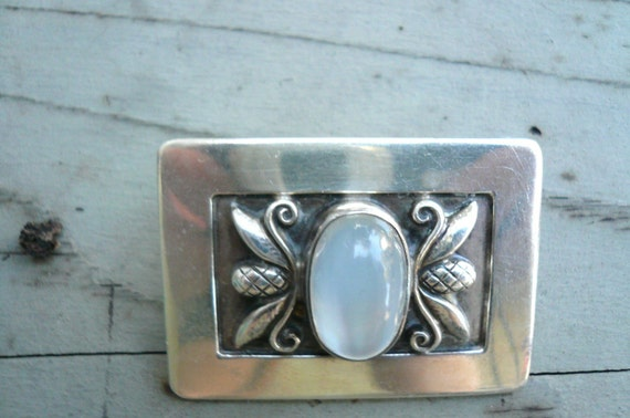 Georg Jensen Made in USA Sterling Brooch with MOONSTONE