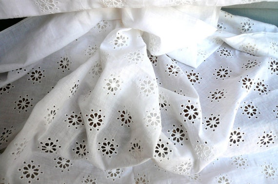 RESVD for Lisa Vintage Eyelet Fabric Priced Per Yard