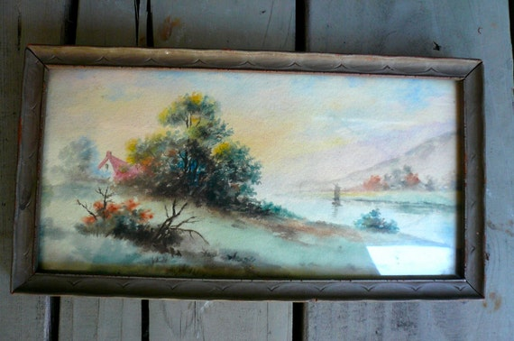 SALE Vintage Watercolor Pink House Teal Trees Landscape Painting