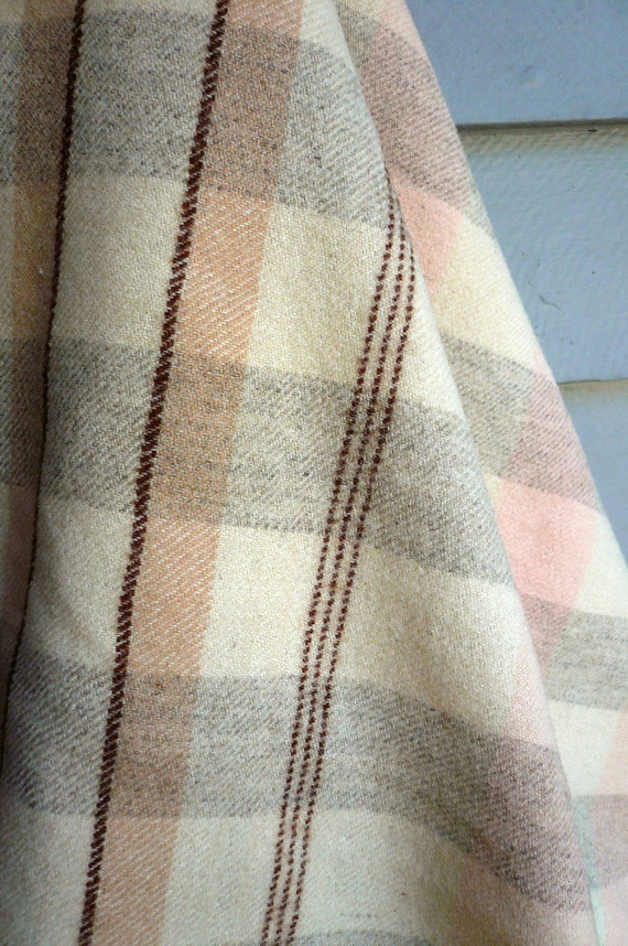 Vintage Wool Blanket Pastel Plaid in TWO FP Treasuries