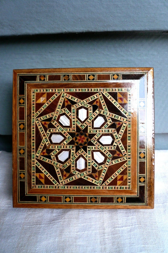 RESVD for laudanumapothecary for Nov. 2 Vintage Mosaic Moroccan Box Inlaid Wood