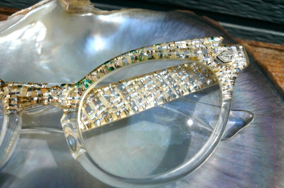 RESVD for Lesley Vintage Cats Eye Frames 1950s Gold and Silver Flecks