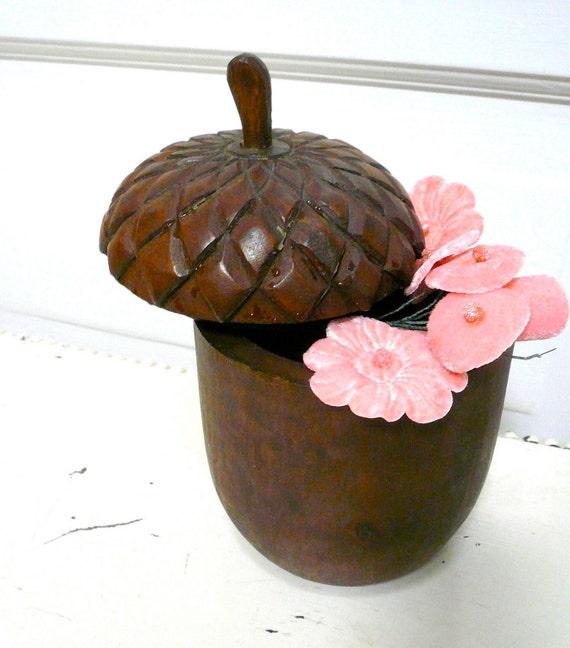 Vintage Acorn Box Carved Wood