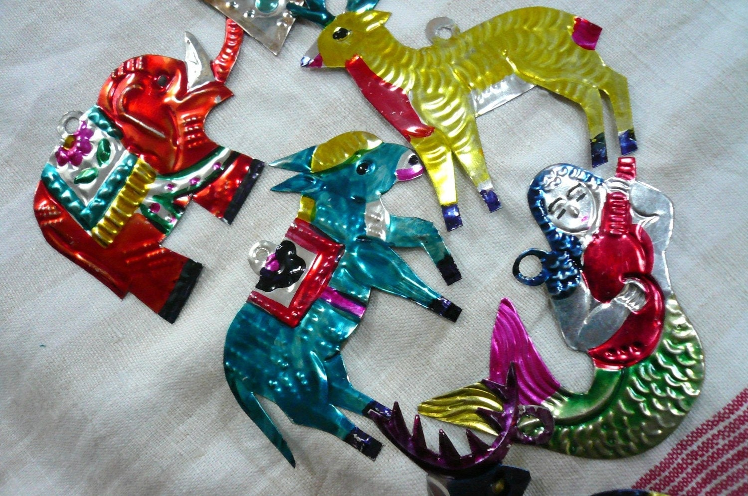 Vintage Christmas Ornaments Mexican Tin Animals 6