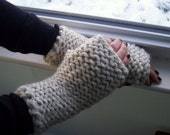 Fingerless Texting Gloves, Wheat Wrist Warmers