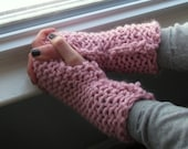 Fingerless Texting Gloves, Pink Wrist Warmers