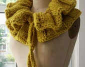 Handmade Ruffled Neckwarmer Scarf, The Lemon Lime Muff
