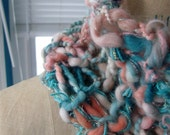 Coral Pink and Teal Sparkle Glitter Infinity Scarf