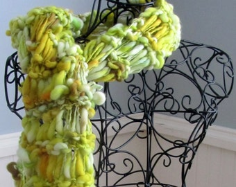 Yellow Green Long Handspun Scarf with Fringe