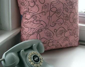 Pink Princess Phone Pillow Cover 18 x 18