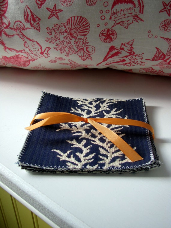 Nautical Fabric Coasters-- Blue and White-- Reversible