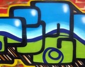 SALE -  Mizu - Extra Large Graffiti Art On Canvas
