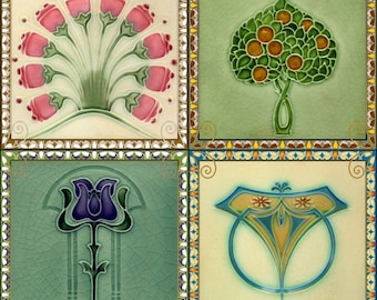 Coasters - Set of 4 - Art Nouveau Tile Designs