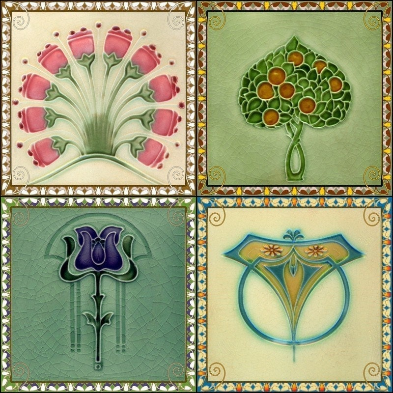 Coasters Set Of 4 Art Nouveau Tile Designs