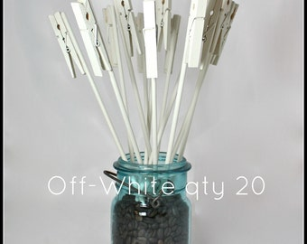 Table Number Holder, Clothes Pin on a Stick, off-white, set of 20, use for place name card, photo, memo, menu, notes, wedding home or office
