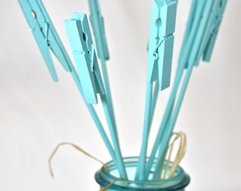 Table Number Holders, Clothes Pin, blue, surf, pool, aqua, set of 12, place or name card table number, photos, memos, notes, wedding
