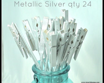 Table Number Holder, clothes pin on a stick, metallic silver, set of 24, use for place cards, menu, photos or notes