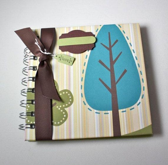 Pregnancy Journal, baby memory book, abstract tree motif in teal with olive and saffron, 80 lined pages, 5x5, spiral bound