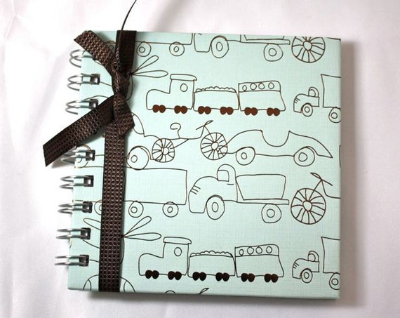Pregnancy Journal, Diary, Notebook, baby boy, vehicles, blue and brown, 80 lined pages, spiral bound, personalize