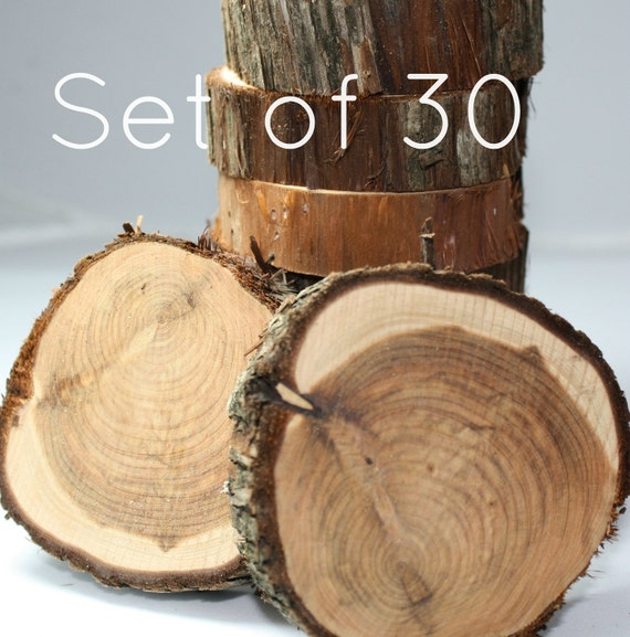 Cedar Circles, Set of 30, rustic, natural wood, unfinished and ready for your project, DIY wedding decor