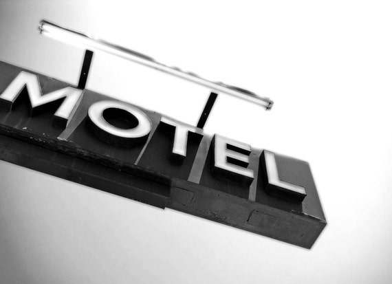 Vintage Motel Sign in Black and White-8 x 10 Motel Ahead