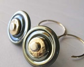 Oil slick. Glass spiral disc boro bead earrings. Mixed metal 14k gold filled & sterling silver.  Metallic blue, swirls. Funky saucers.