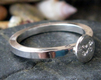 Sterling silver ring with a custom stamped disc. Thick square band. Perfect as stacking rings. You choose design stamp.  Gift under 50.