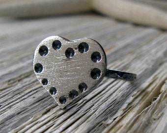 Rustic sterling silver heart ring. Oxidzed and brushed with love, roughly textured finish dot pattern.  Unique artisan jewelry.  Urban gift