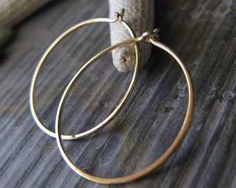 "Solid 18k yellow gold hoop earrings. Artisan handmade 20 guage wire work.  Small 7/8"" size.  Modern simple gift for women. Quality."