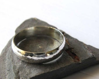Sterling Silver Hammered Ring Wedding Rings For Him Or Her 45mm Band