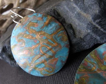 Rustic verdigris patina earrings.  Artisan handmade organic patinated jewelry.  Sterling silver hooks. Gift for her.