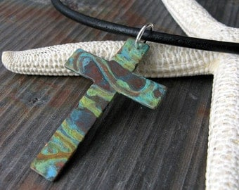Cross necklace.  Rustic verdigris patina.  Interchangable leather cord with sterling silver.  Organic gift. Artisan handmade.
