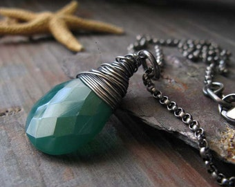 Oxidized sterling silver gemstone pendant necklace. Huge faceted green onyx wire wrapped briolette. Rustic gift for her. Emerald Isle.