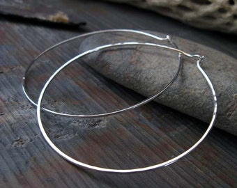 "Big sterling silver simple hoop earrings. Artisan handcrafted 16 gauge 2 1/2"" wire work. Modern large reflective rings. Gift for her."