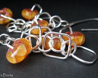 Clearance Sale. Golden boro glass bead earrings. Long dangle sterling silver & lampwork. Sunshine warm citrus. Ready to ship. Magic Runes.