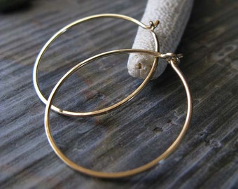 "Minimalist hoops. Urban 14k gold filled modern artisan handmade earrings. Simple & lightweight 7/8"" jewelry. Chic hammered design. Small"