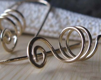 Lightweight everyday jewelry.  14k gold filled spiral artisan wire work earrings. 20 gauge.  Modern swirl.  Spring style.  Made to order.
