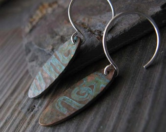 Simple rustic copper verdigris earrings with sterling silver.  Organic patina jewelry.  Long skinny petite ovals. Lightweight. Tabby.