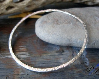 Textured bangle bracelet.  Sterling silver hammered urban everyday jewelry.  Simple, classic & chic, great for layering. Gift for women.