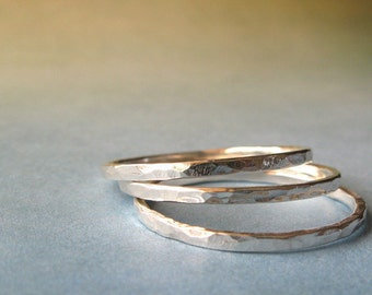 Urban chic trio of rings.  Sterling silver texture minimalist hammered great for stacking.  Simple modern everyday jewelry.  Made to order.