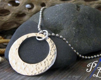 Simple modern sterling silver pendant necklace.  Large 1 1/8 inch textured washer jewelry.    Ball chain included.  Made to order.